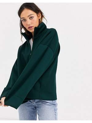 Weekday sadie zip-detail sweatshirt in dark green
