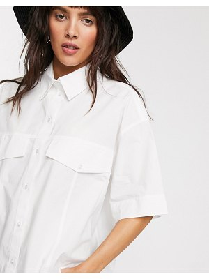 Weekday shayla organic cotton boxy shirt in off-white-cream