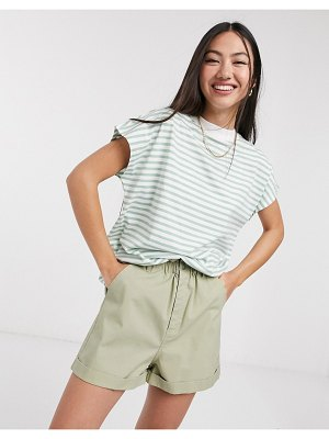 Weekday striped high-neck tee in green and white-multi