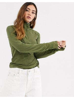 Weekday zip -through long sleeve top in khaki green