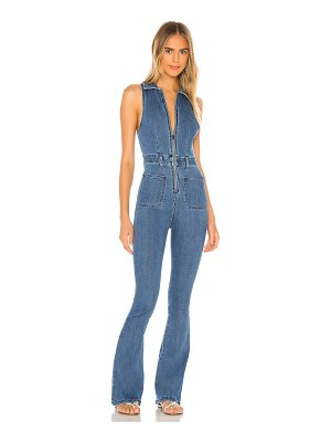 WeWoreWhat sleeveless flare stretch denim jumpsuit. - size 0 (also