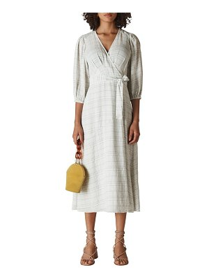 Whistles catalina windowpane check wrap midi dress