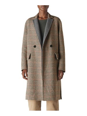 Whistles check double face wool blend coat