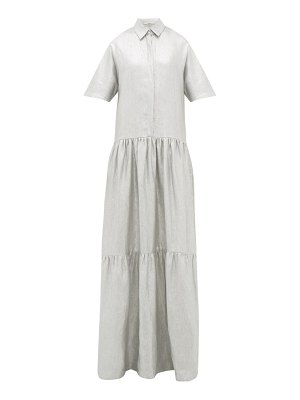 White Story operato metallic-coated linen maxi dress