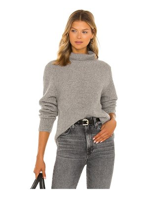 White + Warren cashmere luxe waffle knit stand neck sweater
