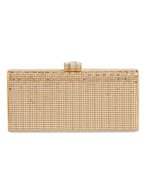 Whiting & Davis crystal embellished metallic mesh clutch