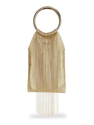 Whiting & Davis gold rush fringe metal mesh bracelet clutch