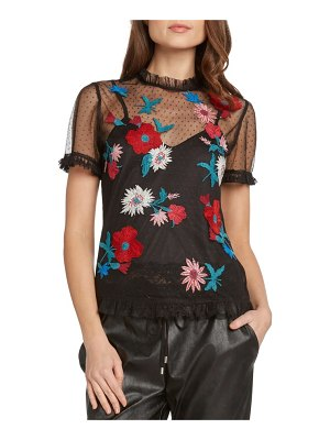 Willow & Clay embroidered mesh dot top