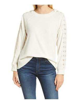 Wit & Wisdom lace inset long sleeve boatneck top
