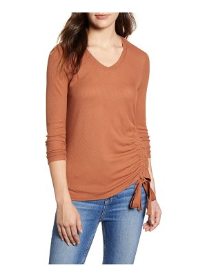 Wit & Wisdom side ruched thermal knit top