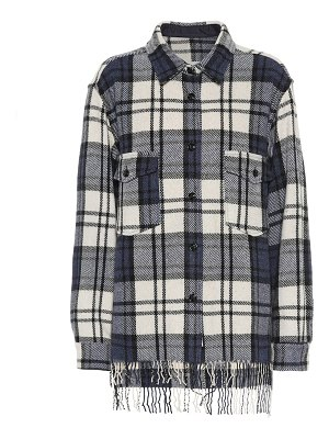 Woolrich checked wool-blend jacket