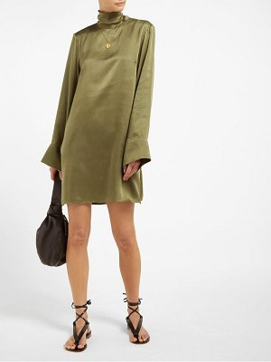 Worme the high neck sandwashed silk shift dress