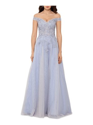 Xscape 3d embroidered floral off the shoulder gown