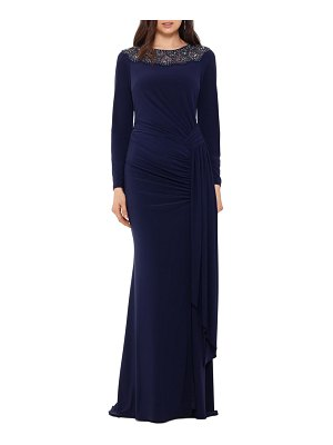 Xscape beaded neck long sleeve ruched jersey gown