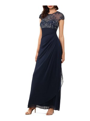 Xscape beaded yoke ruched gown