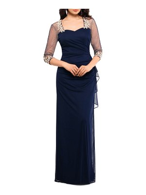 Xscape embellished illusion sleeve ruched gown