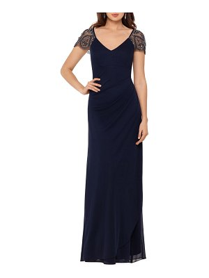 Xscape embellished mesh sheath evening gown