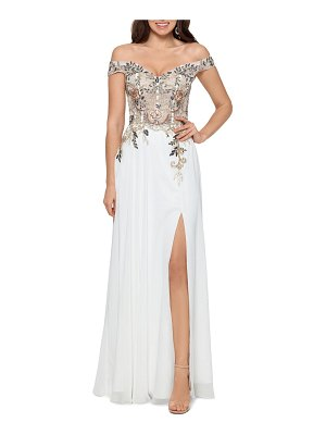 Xscape embellished off the shoulder gown
