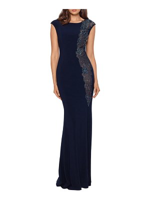 Xscape embroidered mermaid gown