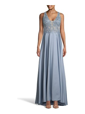 Xscape embroidered satin evening dress