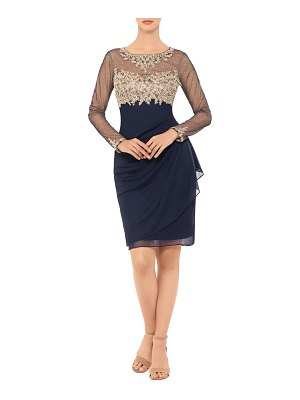 Xscape golden embroidered long sleeve cocktail dress