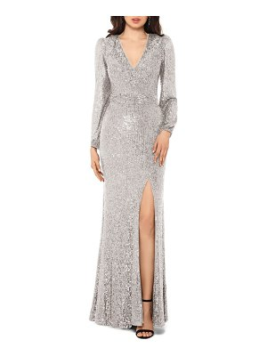 Xscape long sleeve sequin gown