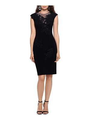 Xscape mesh inset & embroidered cocktail dress