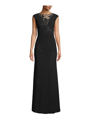 Xscape mesh inset & embroidered evening dress
