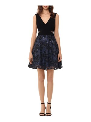 Xscape mesh inset embroidered party dress