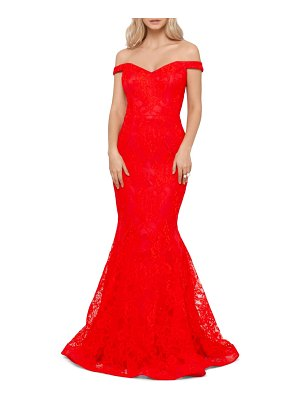 Xscape off the shoulder lace gown