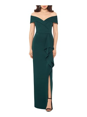 Xscape off the shoulder ruffle gown