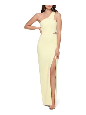 Xscape one-shoulder scuba crepe column gown