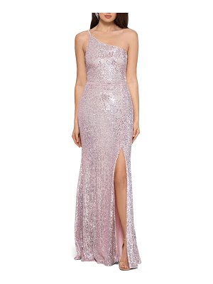 Xscape one-shoulder sequin column gown