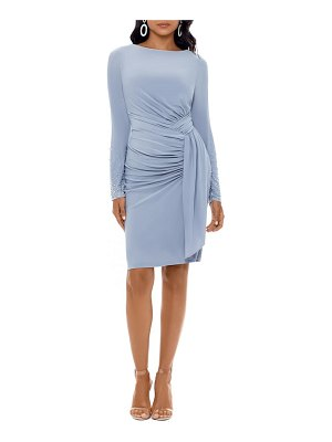 Xscape ruched long sleeve cocktail dress