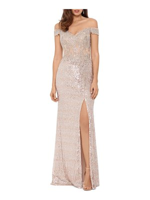 Xscape sequin embroidered off the shoulder gown