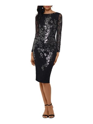 Xscape sequin lace long sleeve cocktail dress