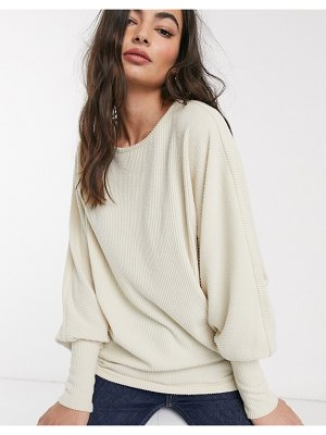 Y.A.S batwing rib sweater in cream-pink