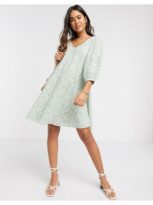 Y.A.S broderie mini smock dress with volume sleeve and v neck in green-blue