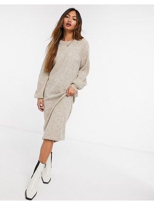 Y.A.S brushed knit midi dress with balloon sleeves in beige-brown