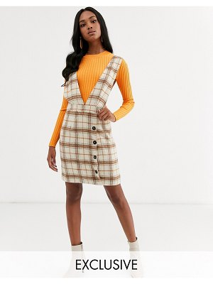 Y.A.S check pinafore mini dress with deep plunge neck-multi