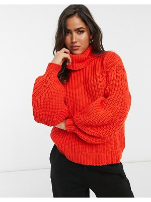 Y.A.S chunky roll neck sweater in red