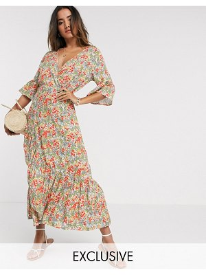Y.A.S dress with ruffle detail slit in floral-multi