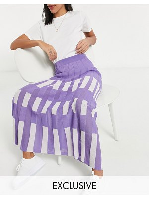 Y.A.S exclusive knitted midi skirt set in lilac and white color block-multi