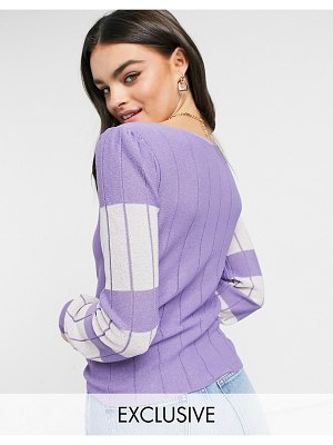 Y.A.S exclusive knitted top set in lilac and white color block-multi