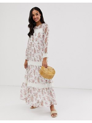 Y.A.S festival floral sheer maxi dress with crochet detail-multi