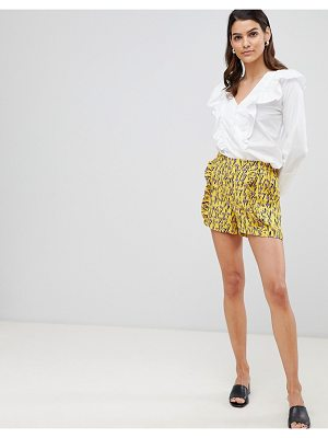 Y.A.S floral frill detail short