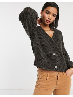Y.A.S hand knitted cardigan in brown