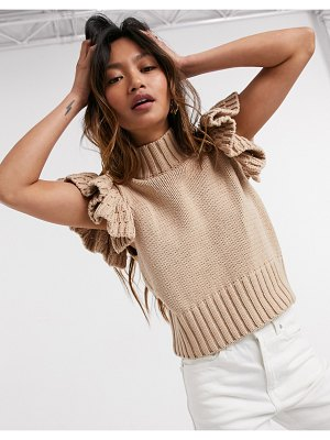 Y.A.S high neck knitted top with ruffle sleeve in camel-cream