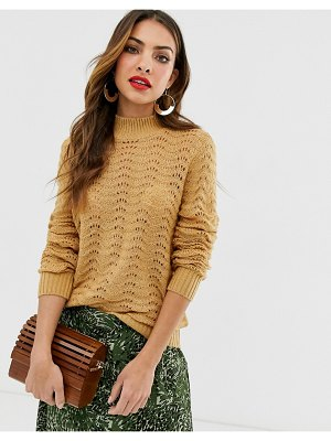 Y.A.S high neck textured sweater-tan