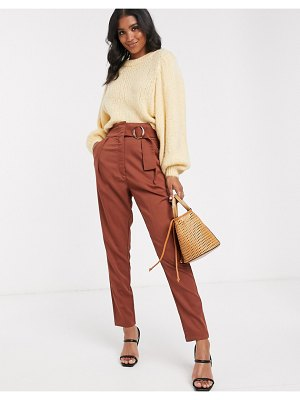 Y.A.S high waist wide leg pants with wide belt-brown
